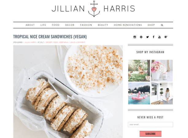 """Jillian Harris -  Why we like it: This is one of our favorite blog looks. It is modern yet charming. We especially like the overall """"white"""" look of the site. Love the pink color too."""