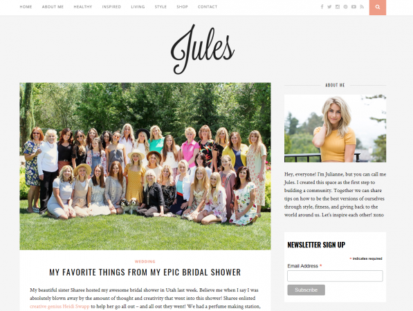 Julianne Hough -  Why we like it: This is a simple (and lovely!) blog website. It makes us want to hang around and read for a while. The layout is relaxed & free.